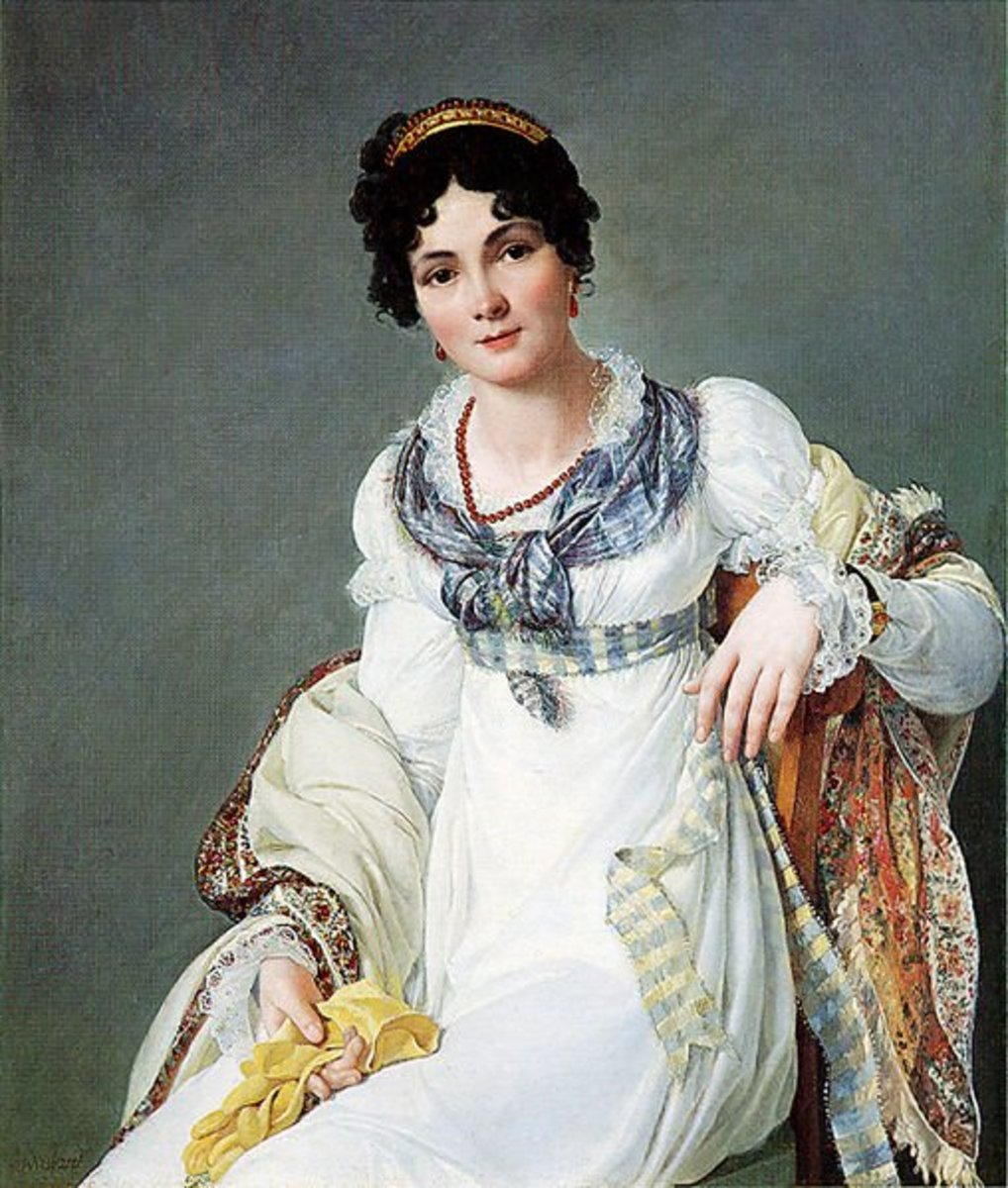 An 1810 portrait of a lady wearing her hair in an exceedingly neoclassical style!