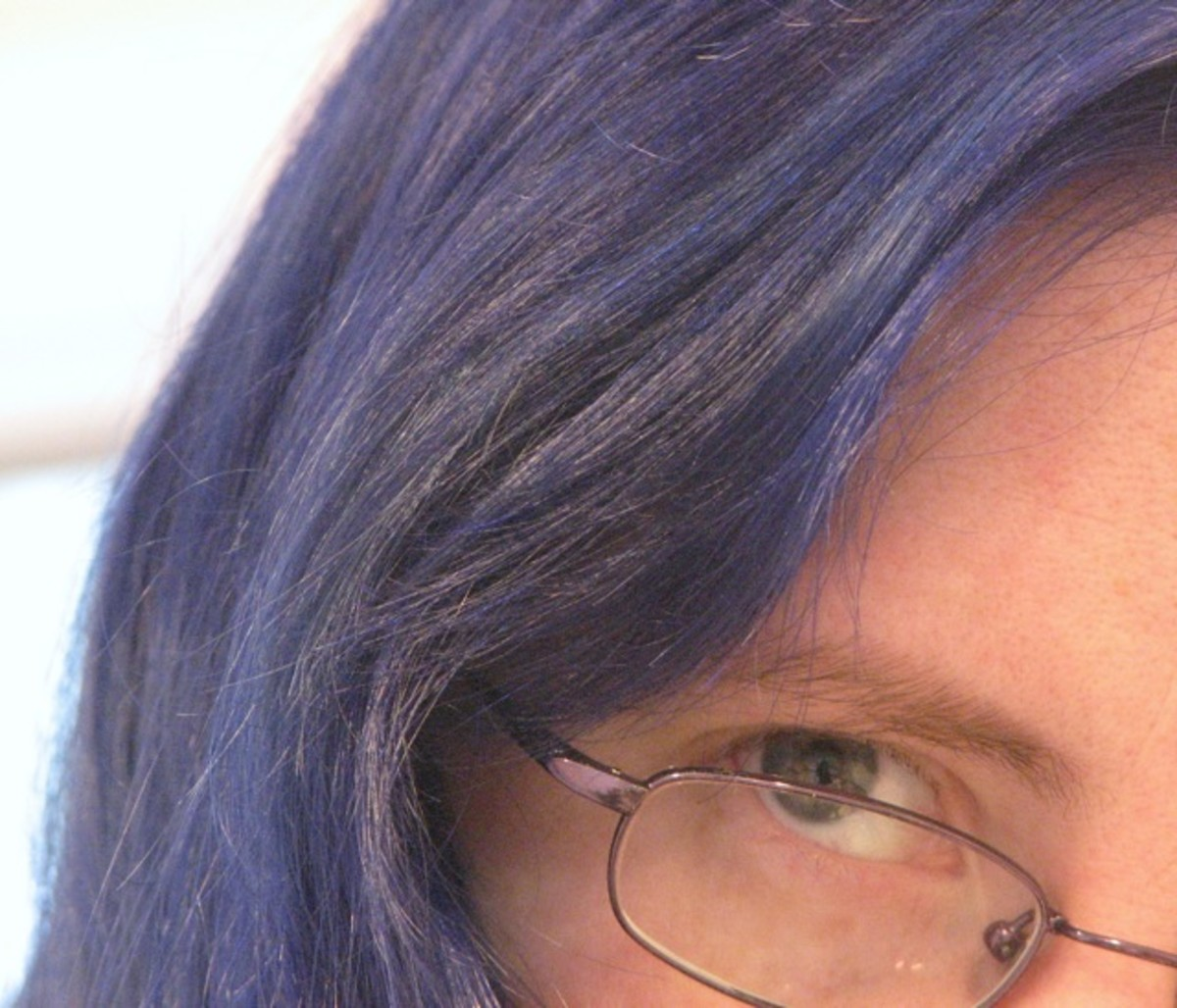 Blue hair, matching my glasses.