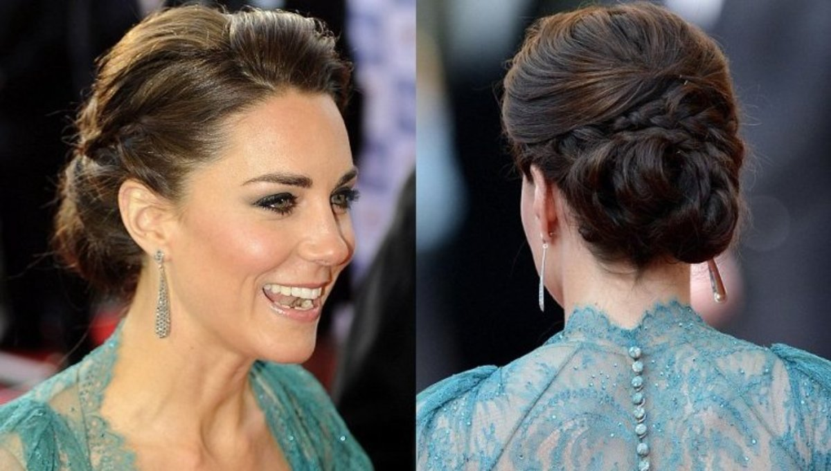 Kate ties her hair in a lovely Chignon styled bun. The sides of her neck are graced by royal looking tear-shaped silver earrings. Scouse brows, mascara, hint of shimmery shadow and nude lip color give her a very natural look.