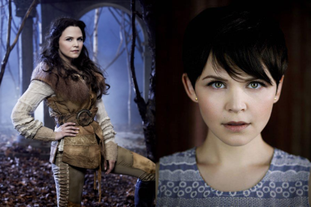 Snow White with long hair and Mary Margaret with short