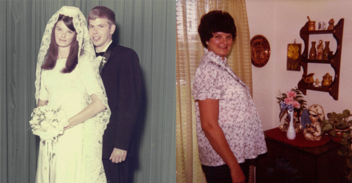 My mother—wedding day with long hair in '68 (L) & pregnant with me with short hair in '83 (R)