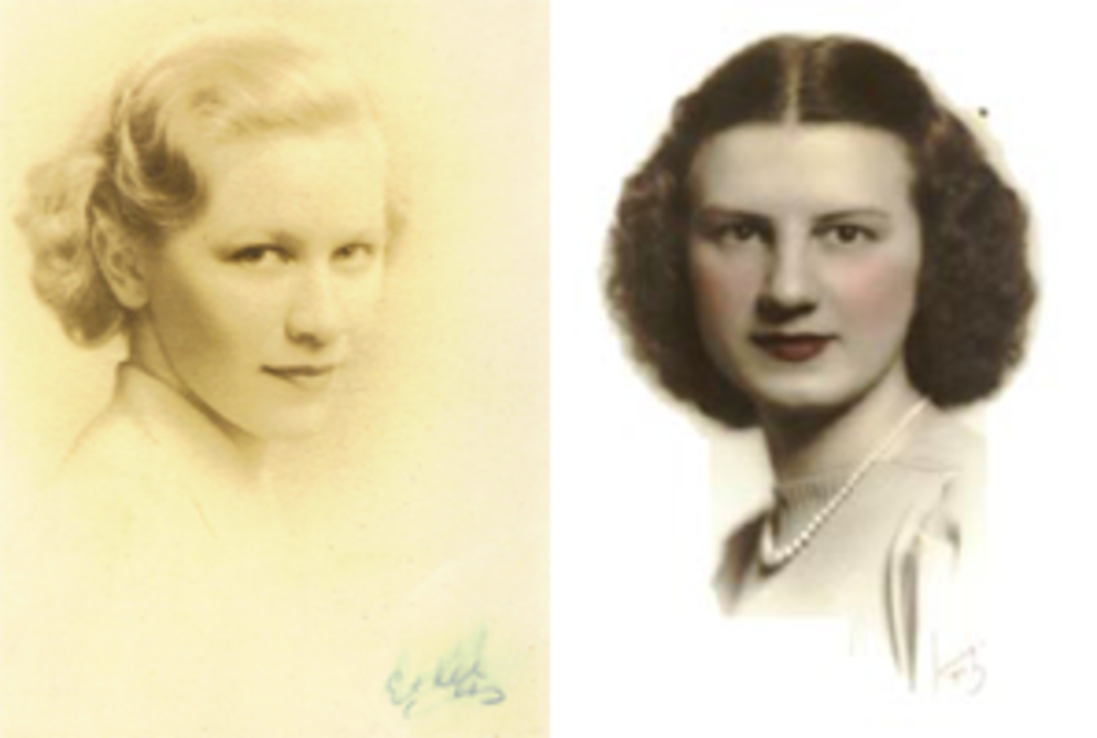 my paternal (L) & maternal (R) grandmothers rocking some semi-short hairstyles during the 1930s