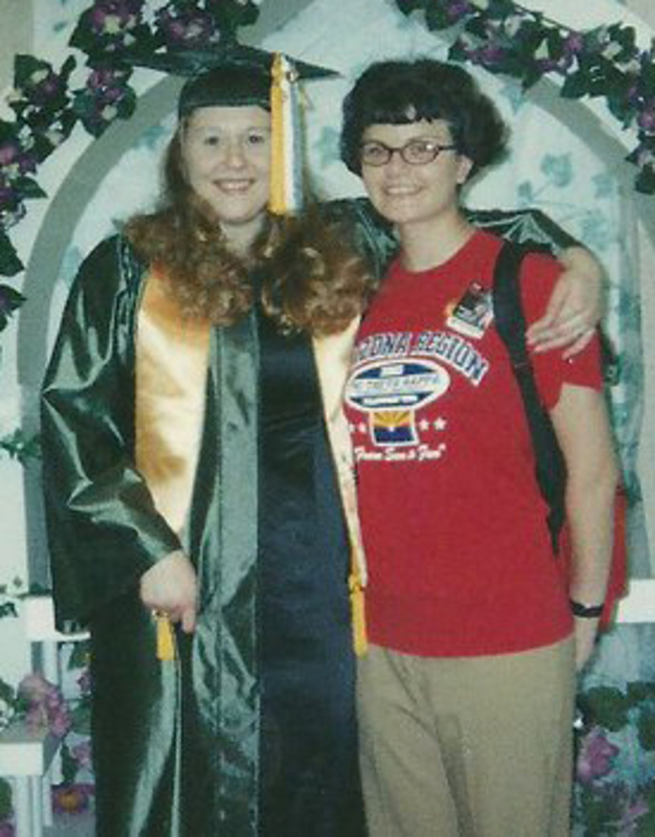 My friend Nicole and I in college  (and my short hair), 2003