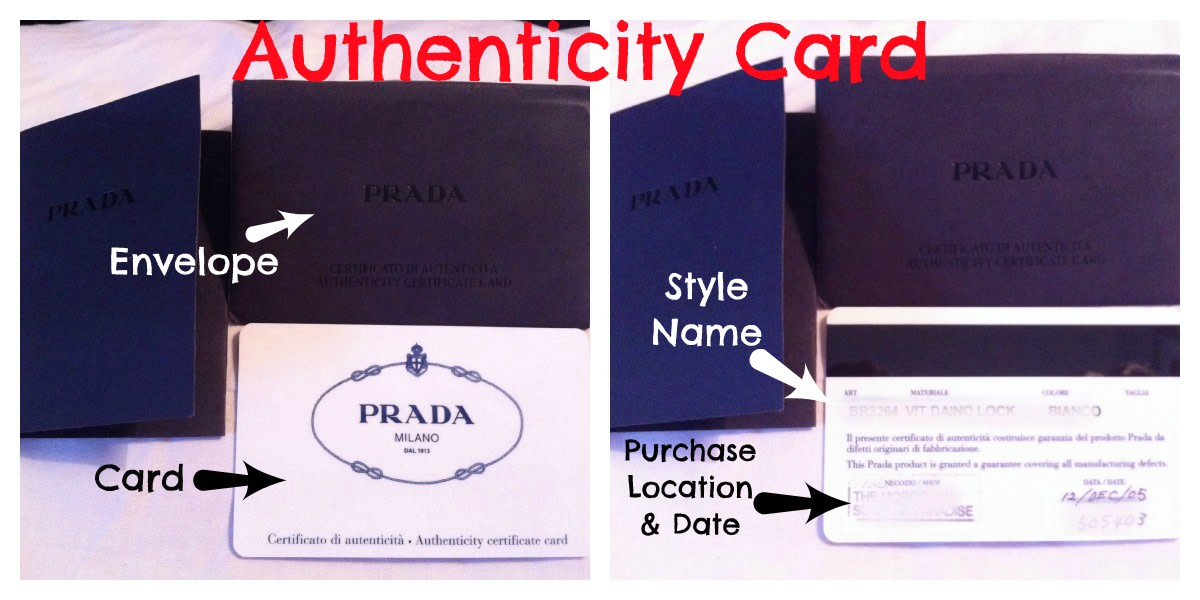 How to spot a fake Prada - The Authenticity Card