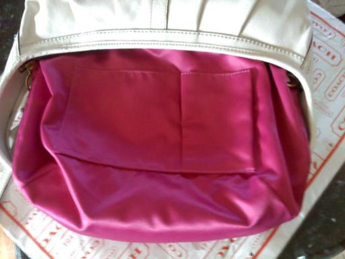 Coach satin interior lining, solid:  REAL
