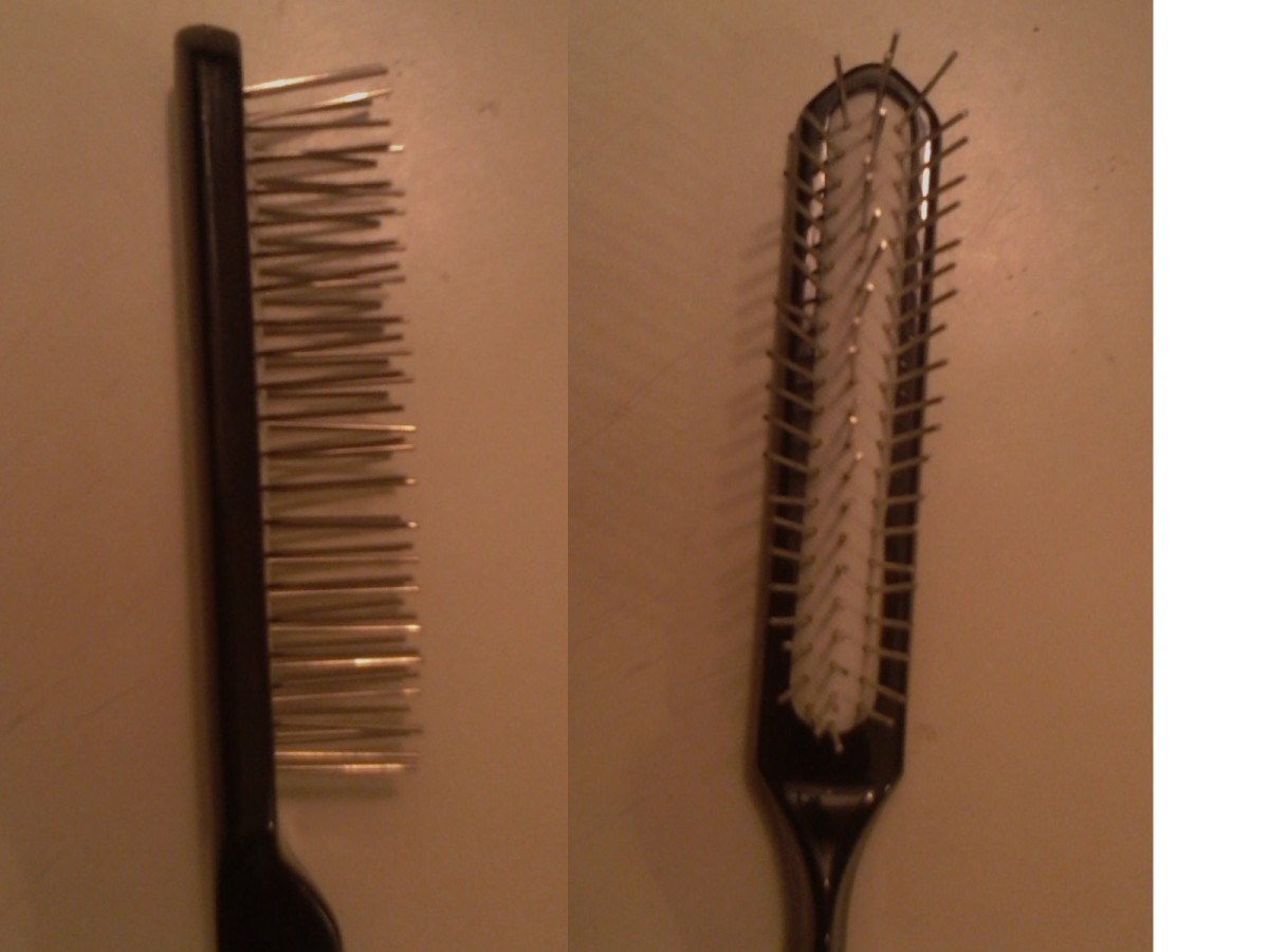 Wig brushes have special metal tines that minimize static electricity. Spraying in a light conditioner helps release tangles with the least pulling.