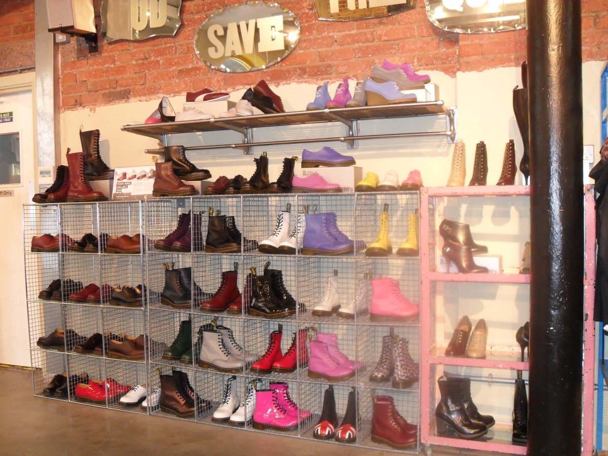 One of four walls loaded with colorful shoes in the DM store in Covent Garden.  There are so many styles to choose from!