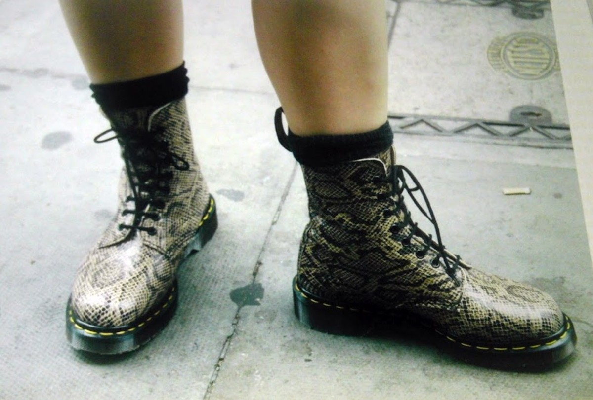 The coolest, fiercest Docs ever—snakeskin, bought in 1996! This picture was taken on the streets of London. (No, they don't make them anymore.)