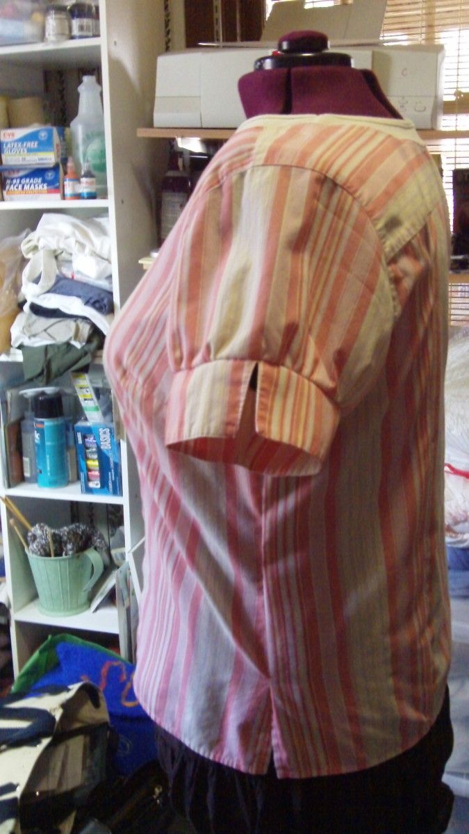 side of refashioned shirt