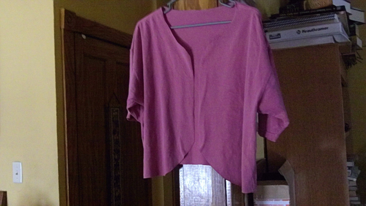 T-shirt being prepared for refashion (before)