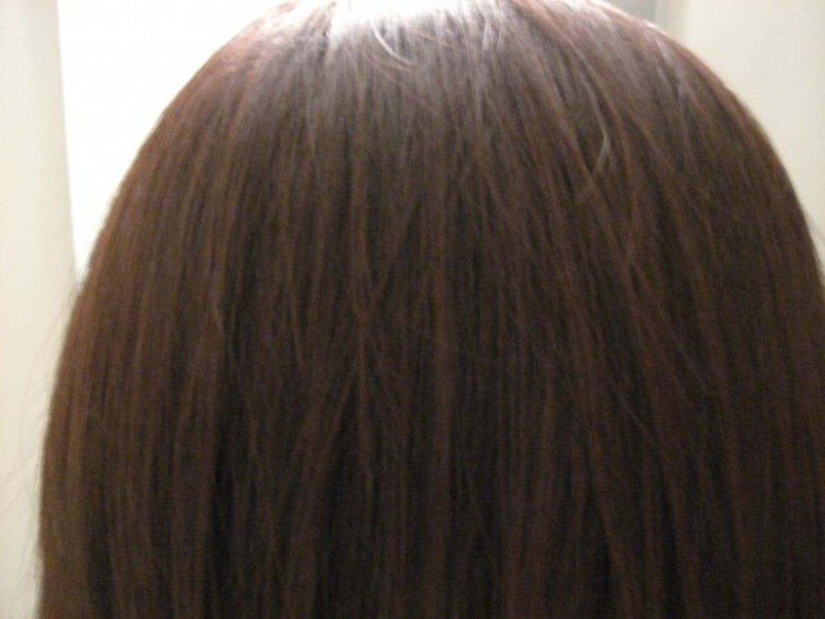 After Picture WITHOUT Flash: Cool Brown Color (The light in the background is the same as the before picture. The angle is just a little lower so you can see the bathroom light above my head)