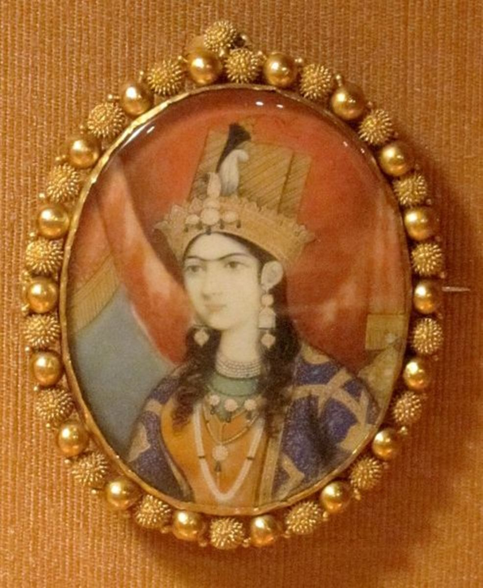An ivory-based miniature portrait painting of Mumtaz Mahal, to whom the Taj Mahal, the world-famous monument. is dedicated.