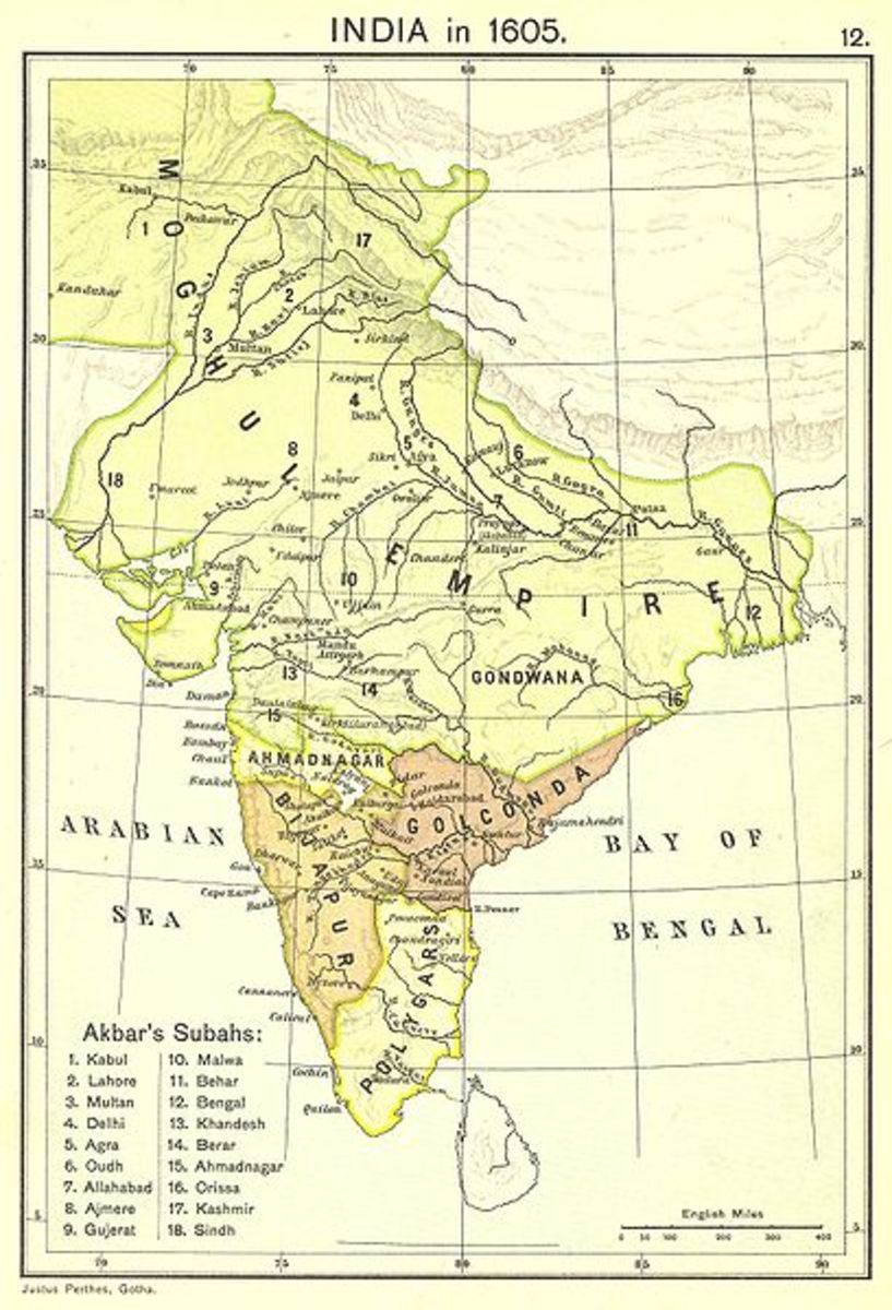 The map of Mughal India in 1605