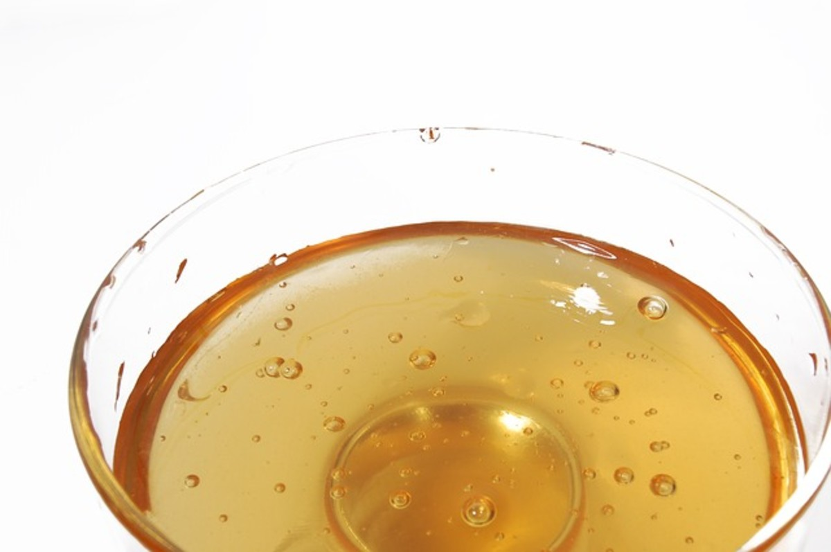 honey in a clear bowl