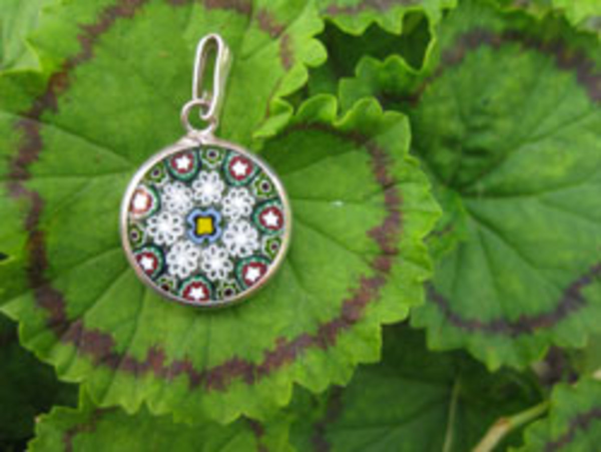 A small millefiori pendant matches any outfit.