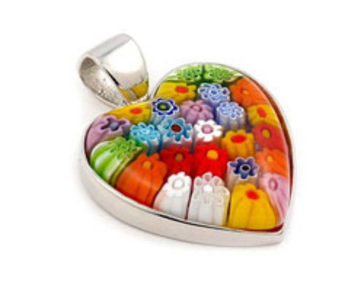 Another example of the beautiful millefiori heart pendants available at Amazon.