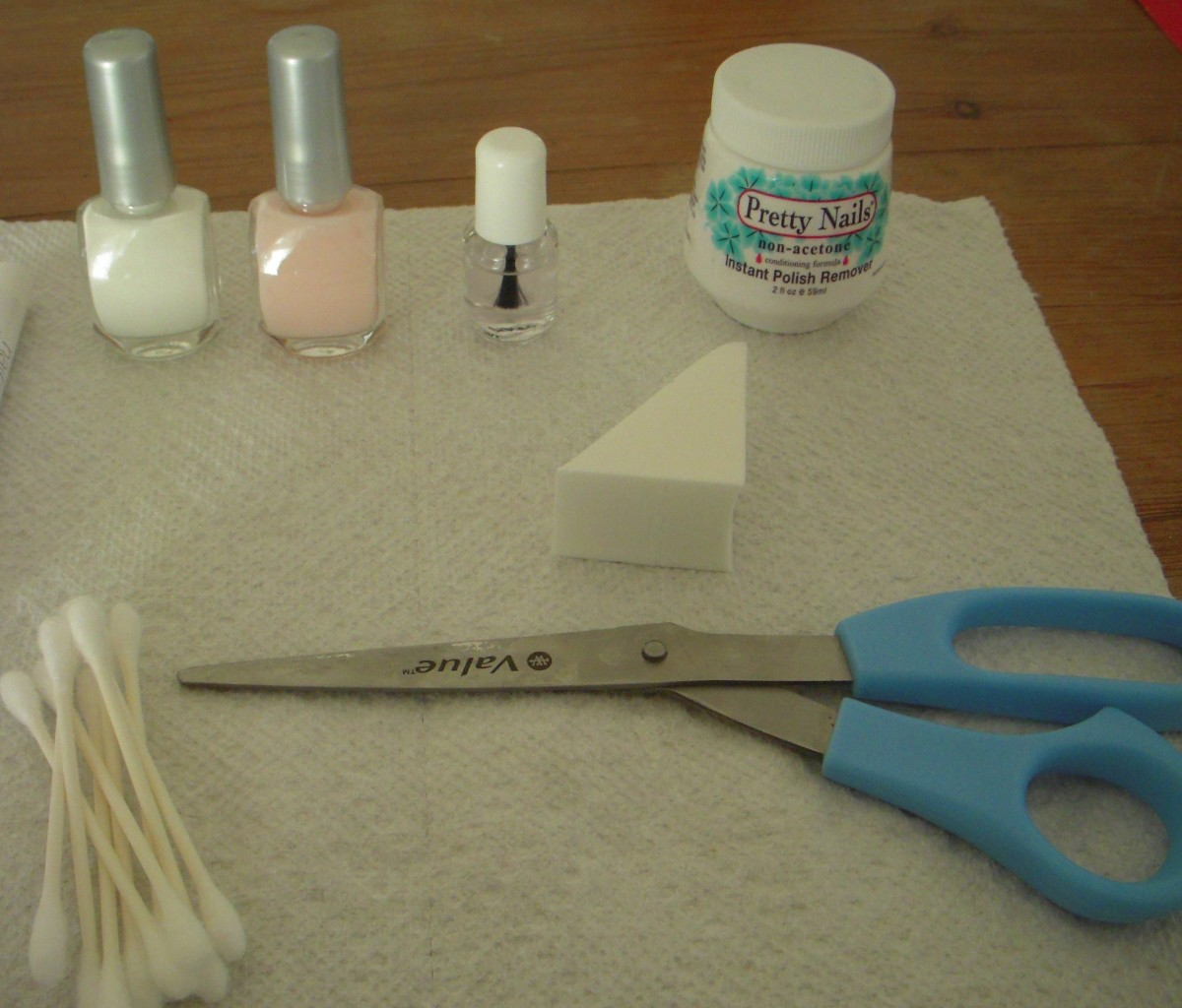 Materials for an ombre french manicure