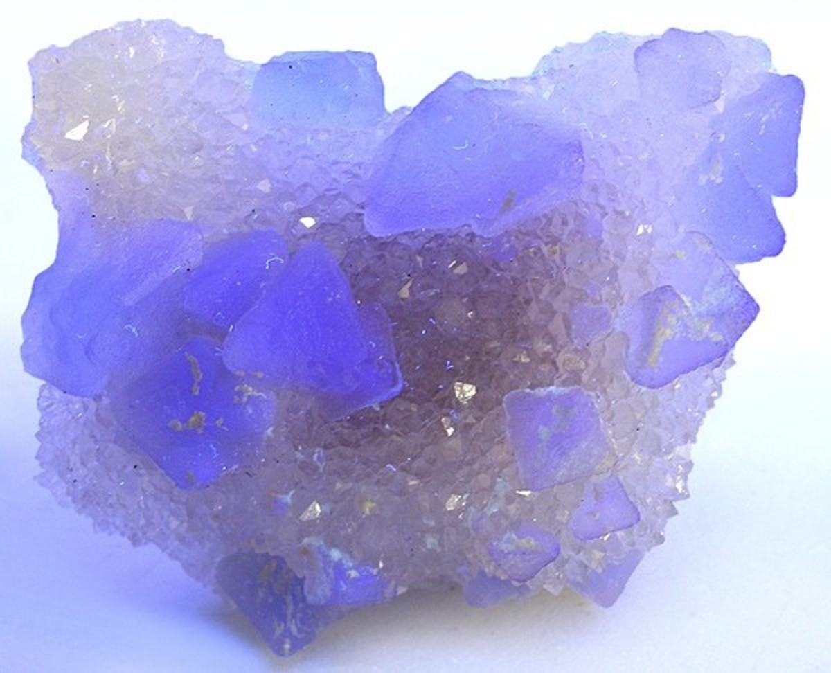Drusy Quartz with Neon Purple Flourite