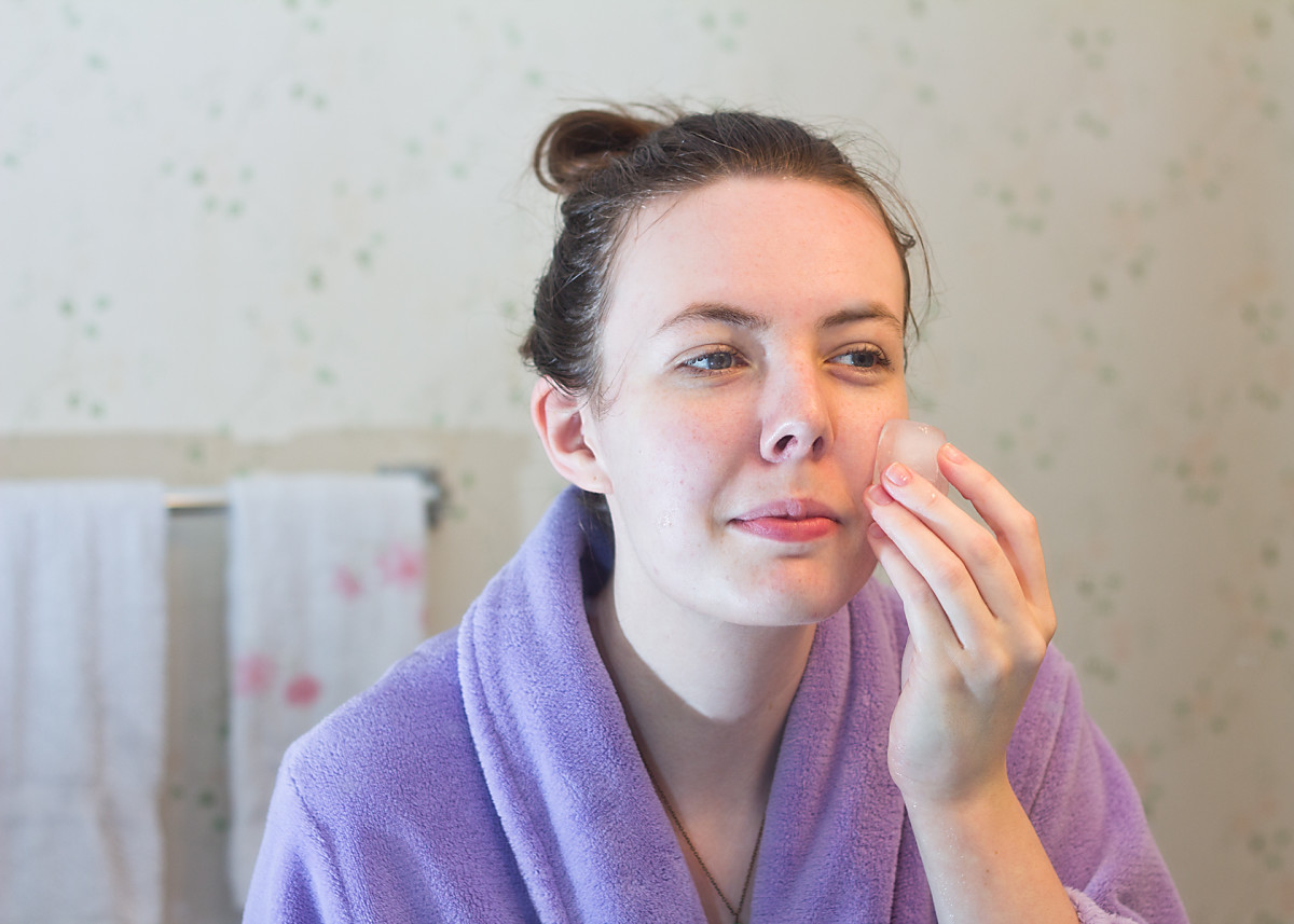 Rinse mask with tepid water and pat face dry. Use a toner, chilled water, or an ice cube to close your pores.