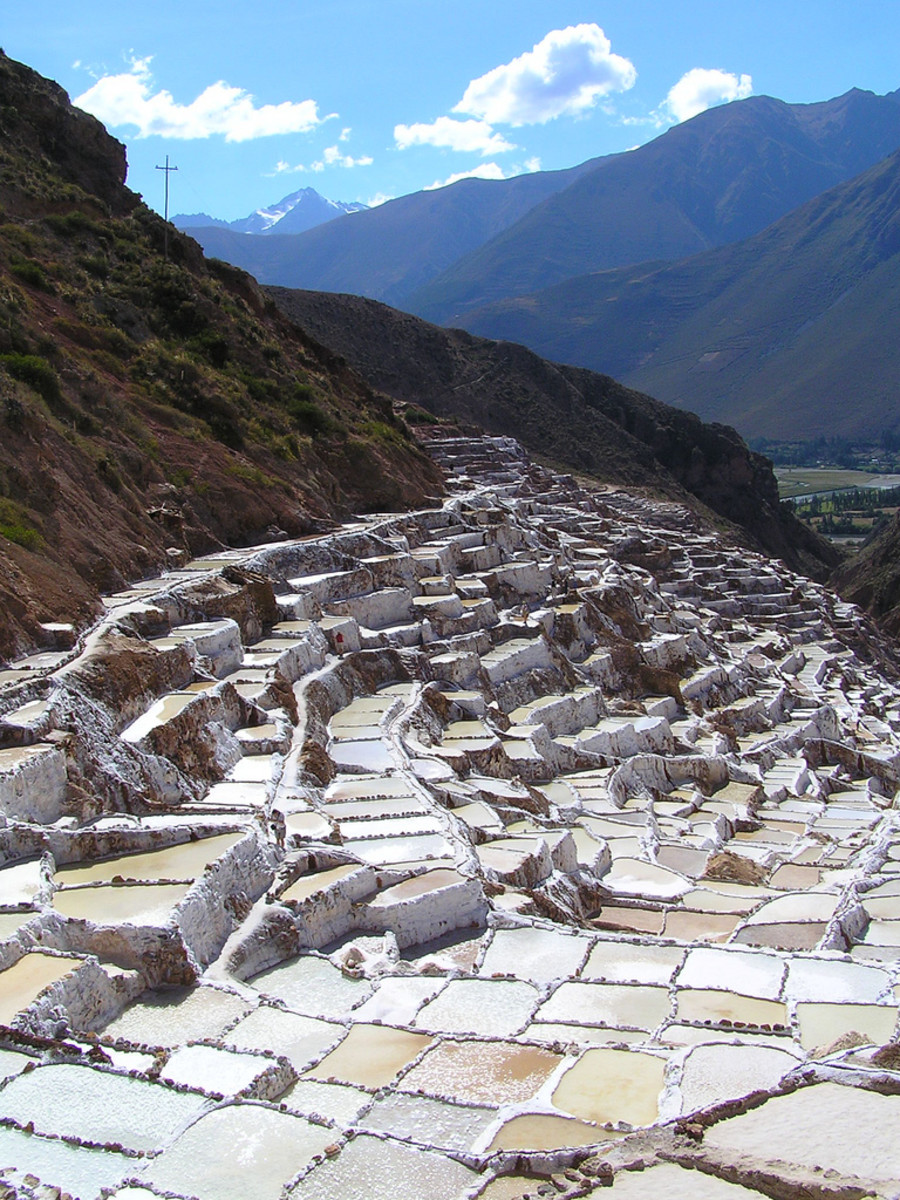 the salt evaporation ponds of Maras in Peru have been in use since the Inca civilization.