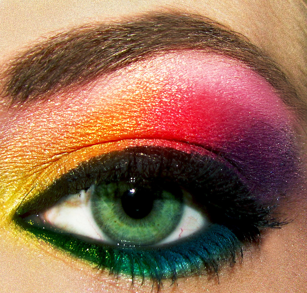 be creative with eyeliner shades when you have a rainbow of choice in powder eyeshadows.