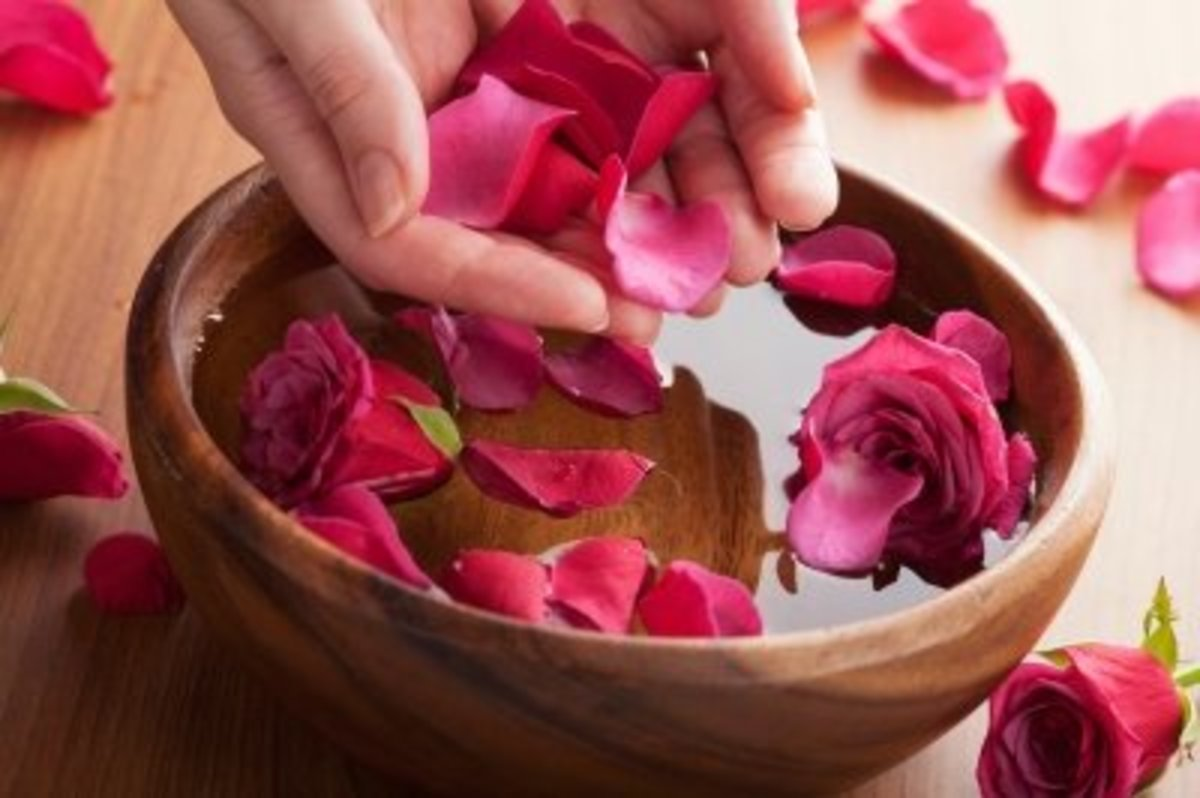 rose petals and water is rosewater; it's that simple.