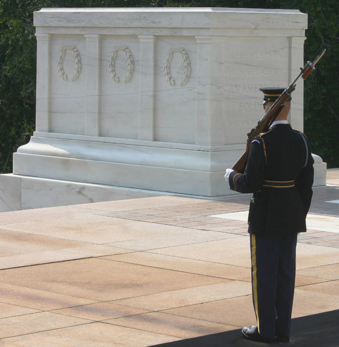 Ornamental stone, like this marble carving at the Tomb of the Unknown Soldier, can be elaborate or simple, but is generally found with retail and specially ordered products.