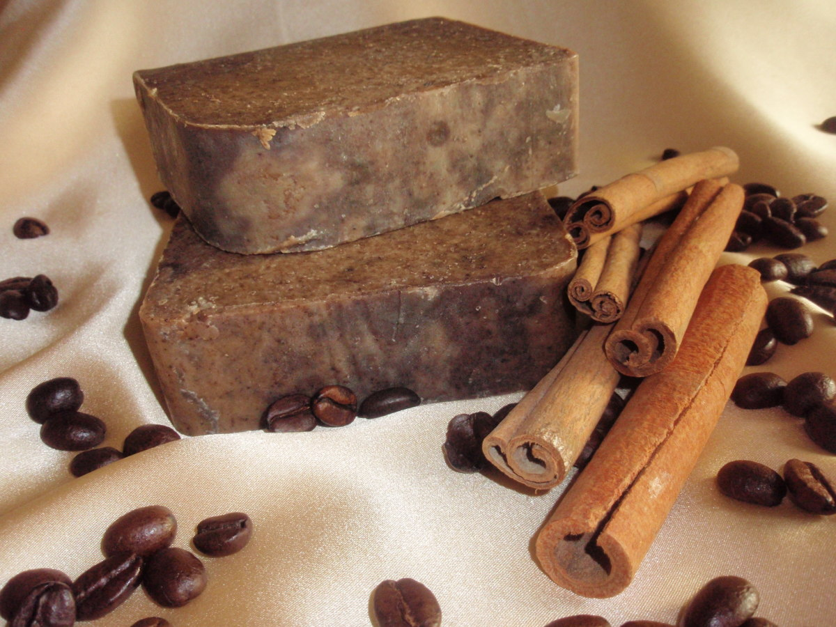 Handmade coffee soap enriched with natural cinnamon extract feels great on the skin.