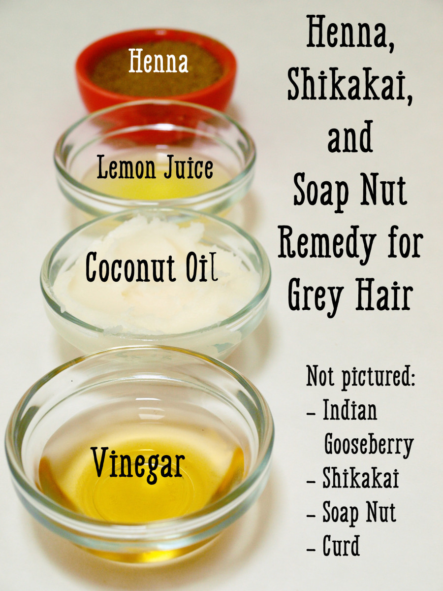 Henna and Indian gooseberry grey hair remedy.