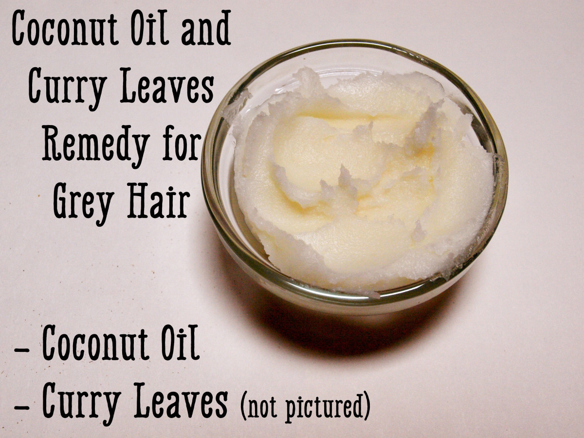 Curry leaves and coconut oil can be used to promote the production of melanin and keratin.