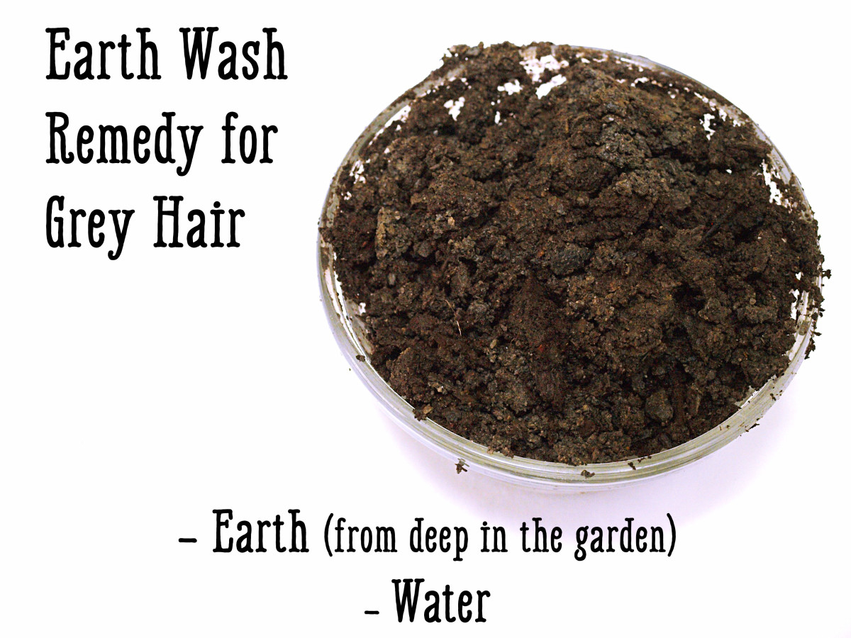 This earth wash grey hair remedy uses ingredients right out of your backyard.