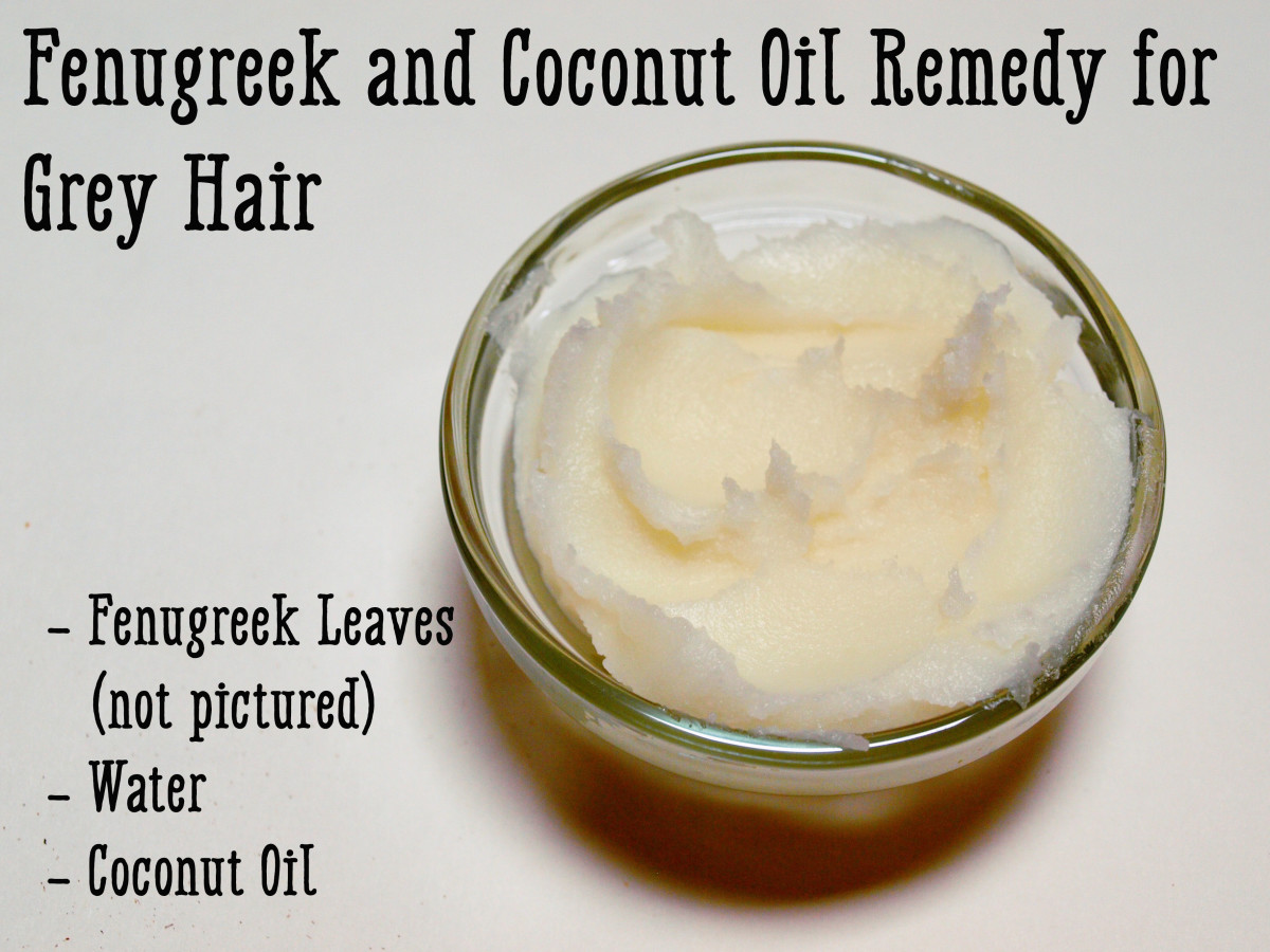 Fenugreek, also known as methi, can be combined with coconut oil and applied to hair as a remedy for greys.