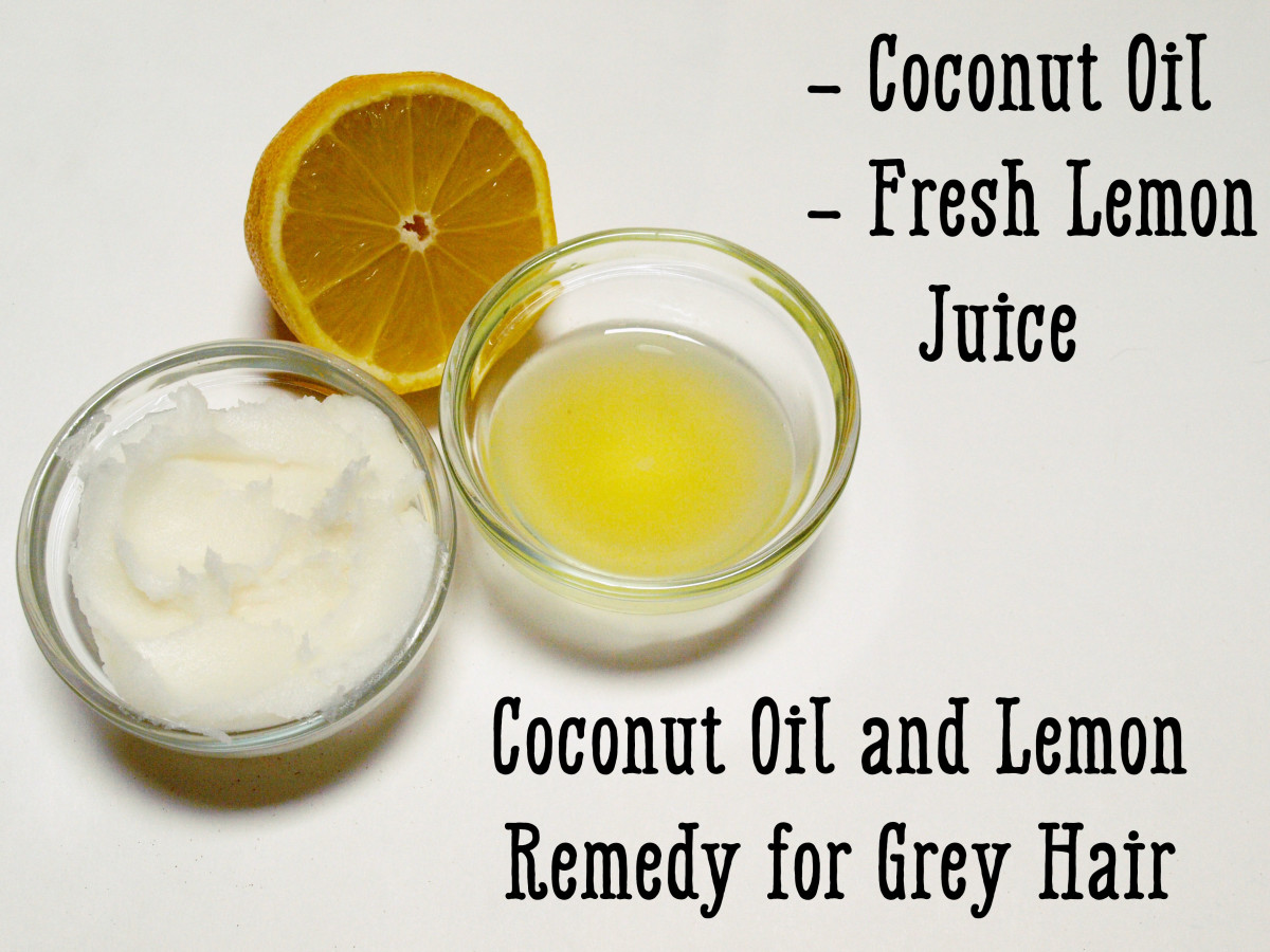 Coconut oil and lemon juice will nourish your hair and leave it dark and shiny.