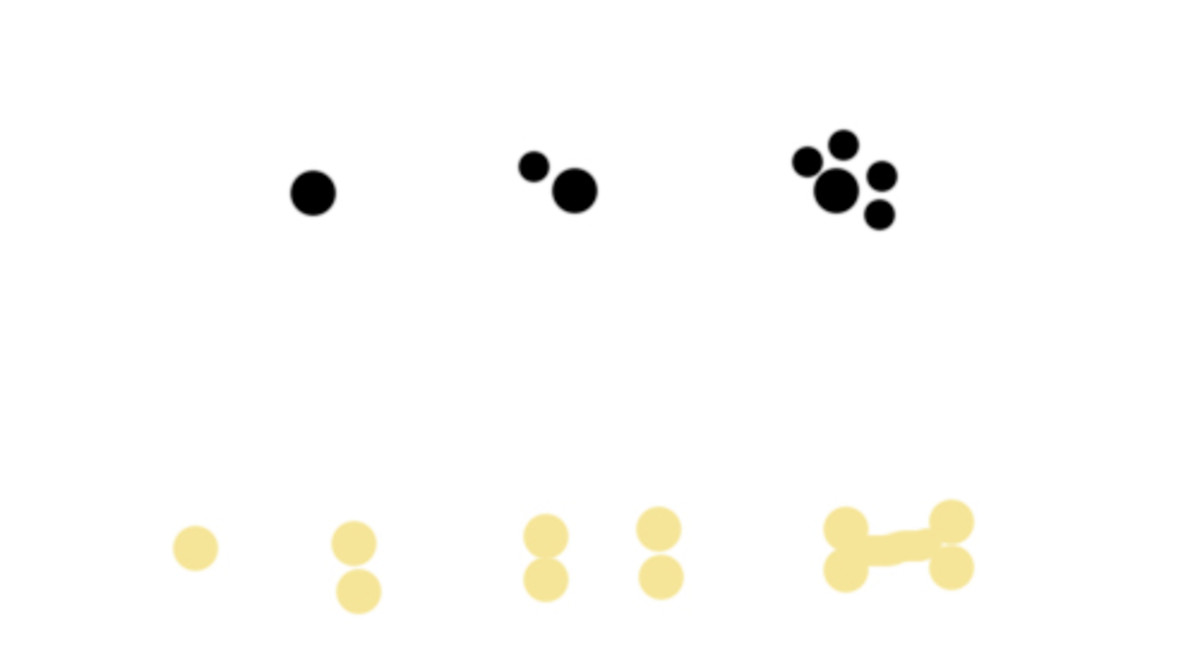 For paws make a big dot, then four smaller dots around one size.  For bone make four dots and draw a line across the middle of them.
