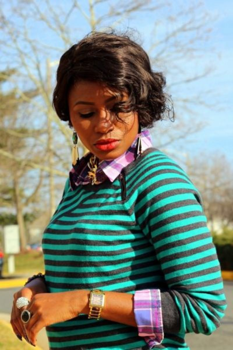 A beautiful balance of stripes and plaid with a nice, vibrant pop of color.
