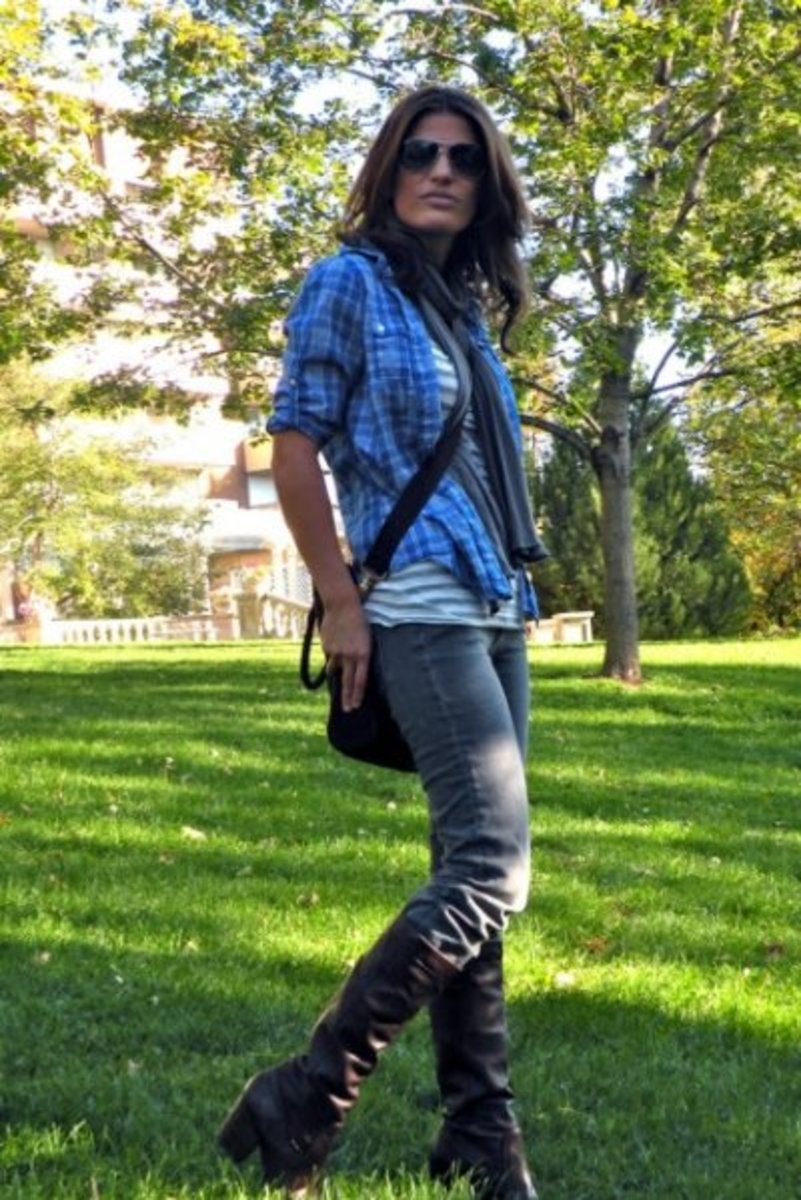 A casual and cool vibrant flannel with a striped undershirt.