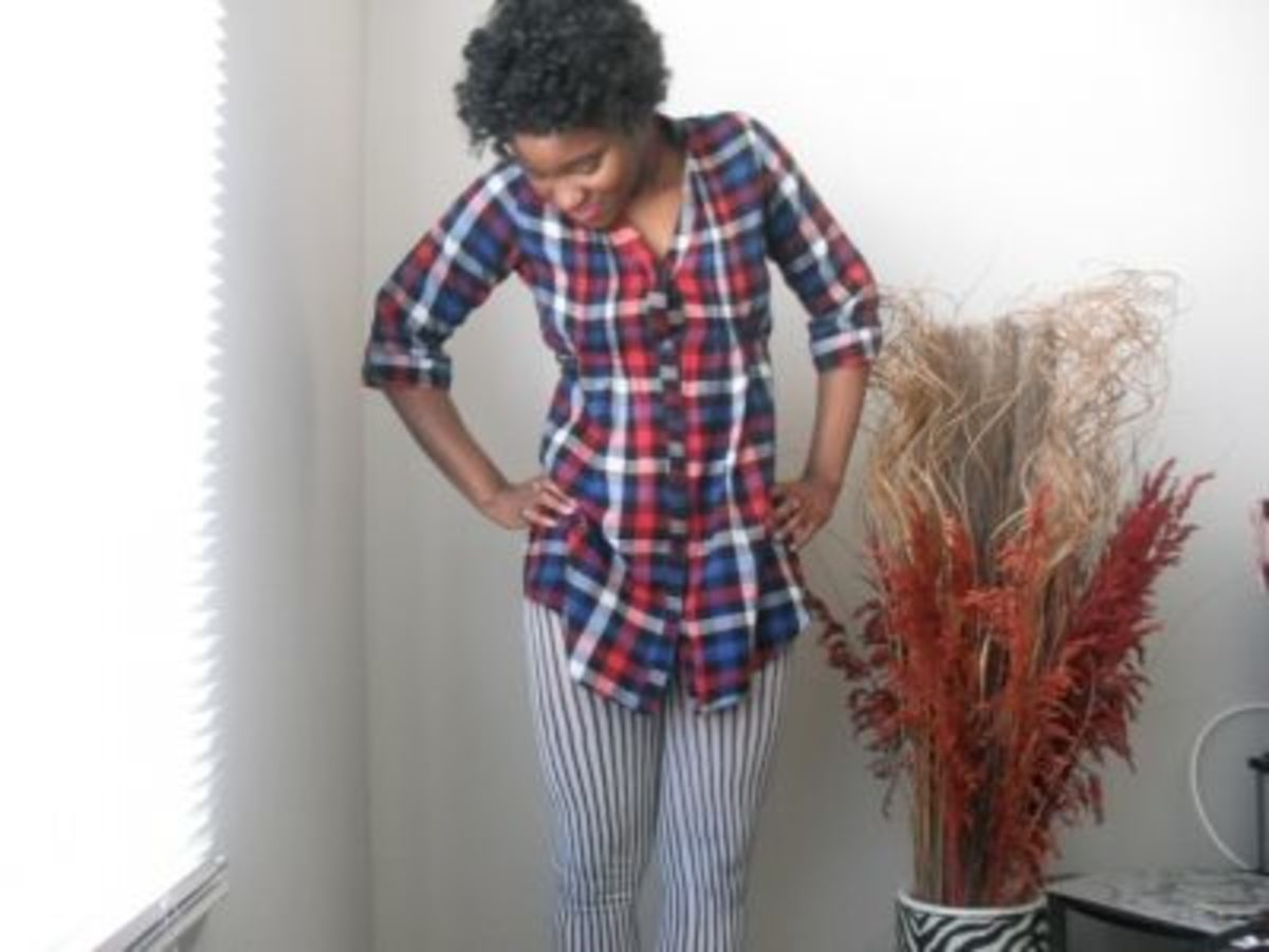 Bold, striped pants and a flannel top.
