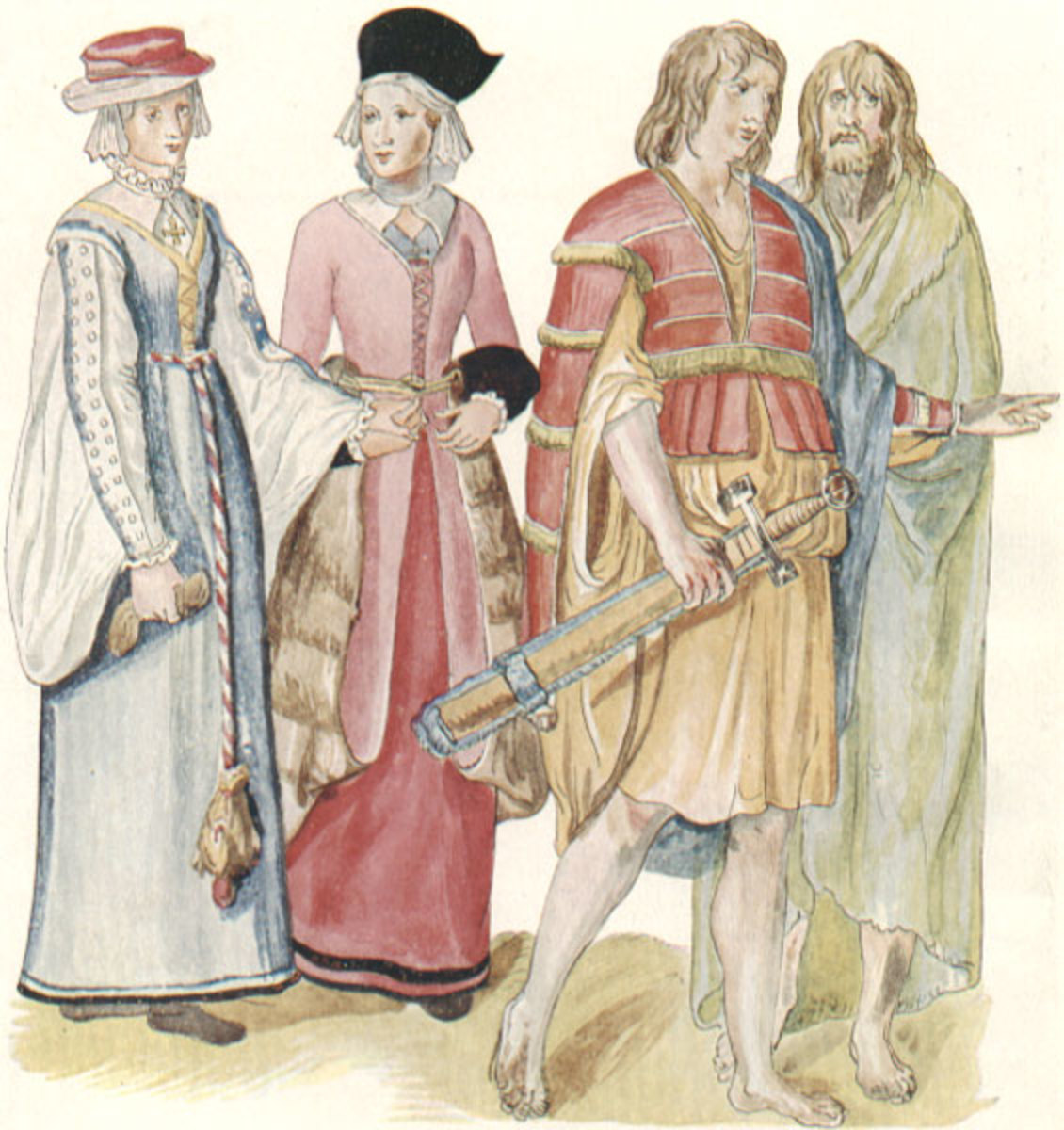 A painting of Irish men and women by Lucas de Heere c. 1575.