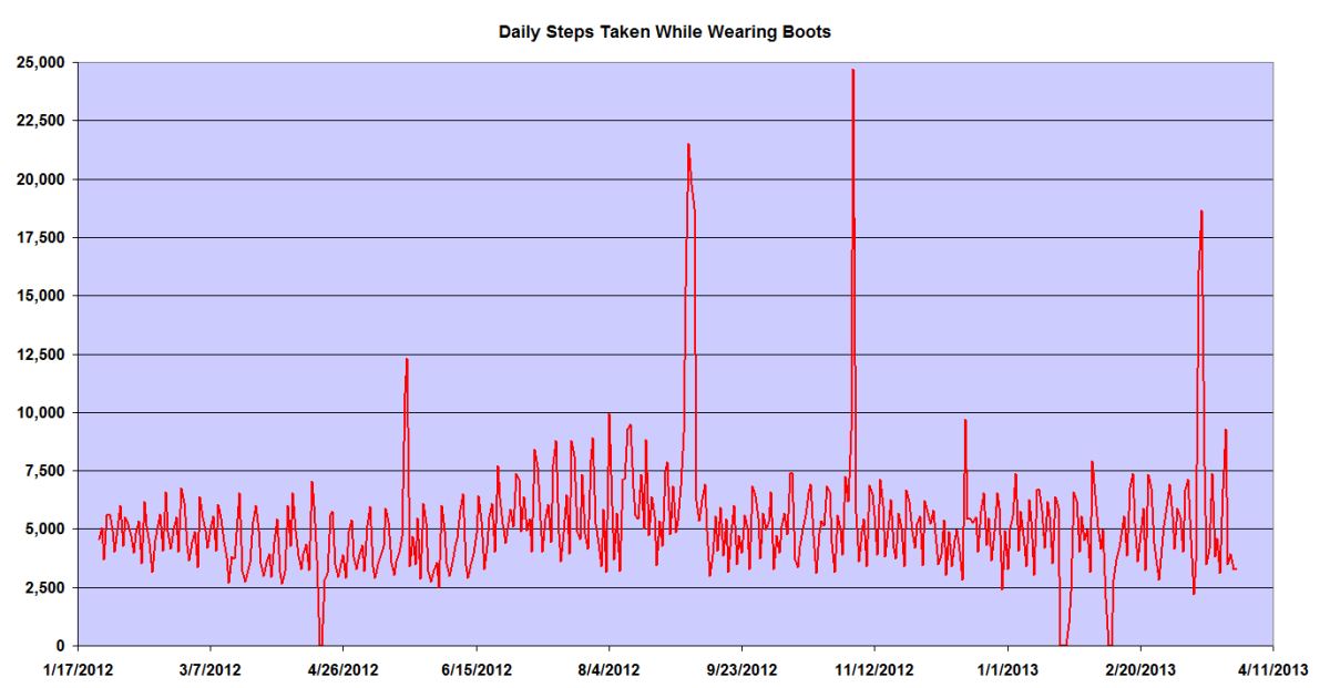 Daily Steps Taken While Wearing Work Boots