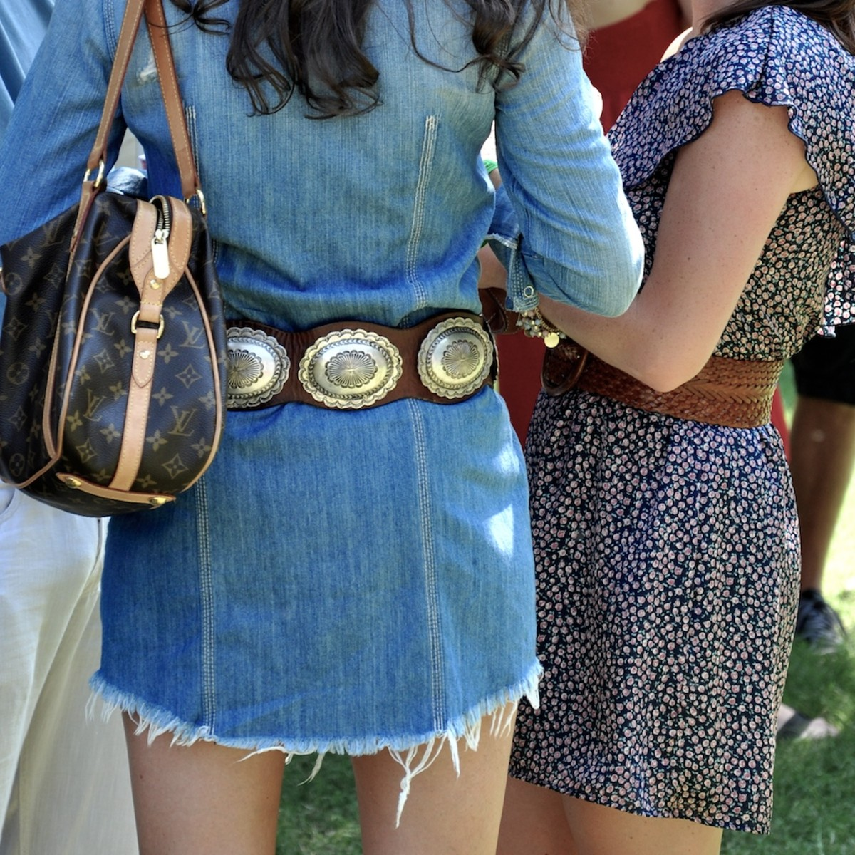 #5 concho belt with short blue jean skirt