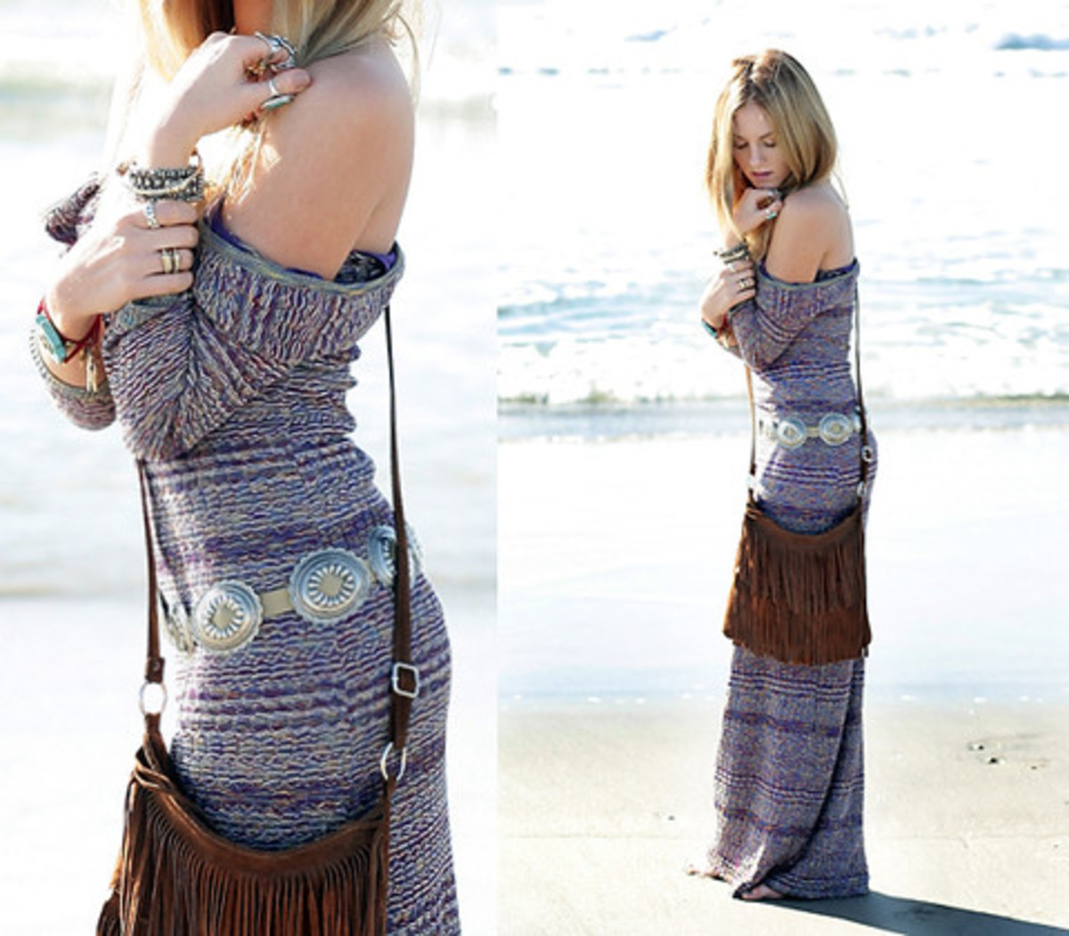#10 concho belt with sun dress and suede purse with fringe
