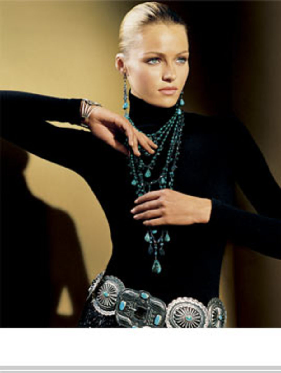 #7 elegant Ralph Lauren concho belt with black turtleneck and turquoise necklace