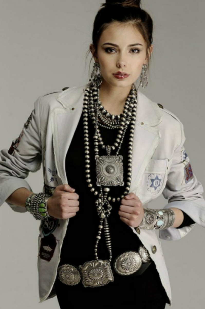 #5 concho belt with fashionable outfit complete with turquoise necklace and tan jacket