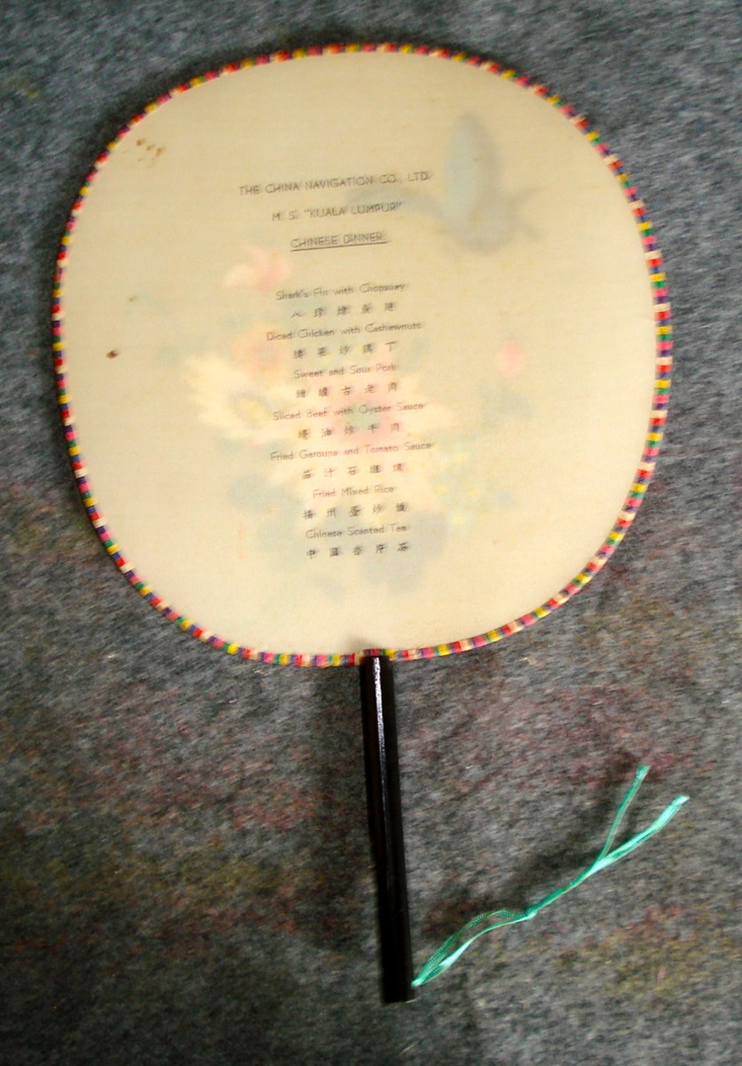 Ship-board Oriental Menu Printed on a Paddle Fan