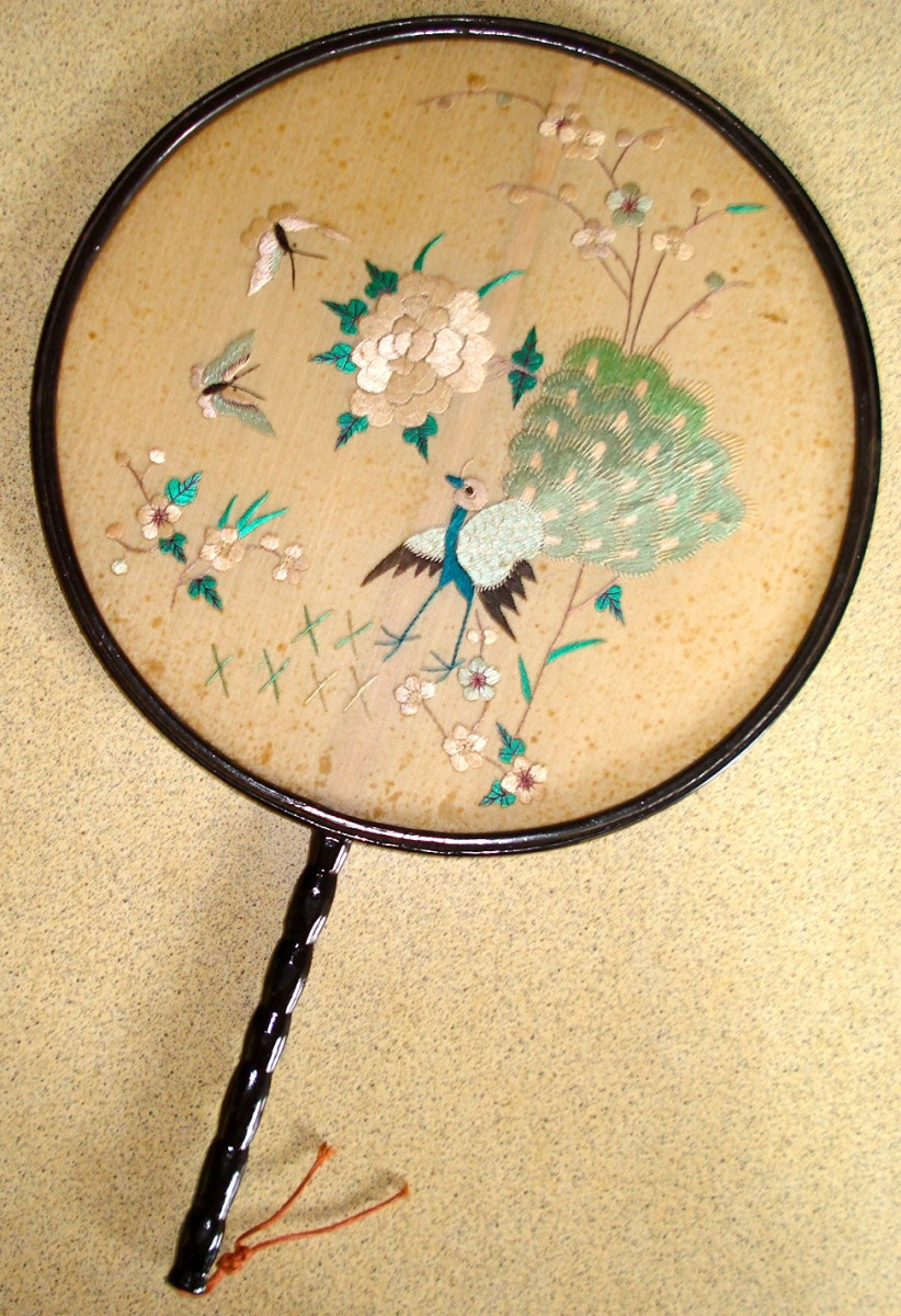 My Grandmother's Silk Victorian Fan, Embroidered in Silk