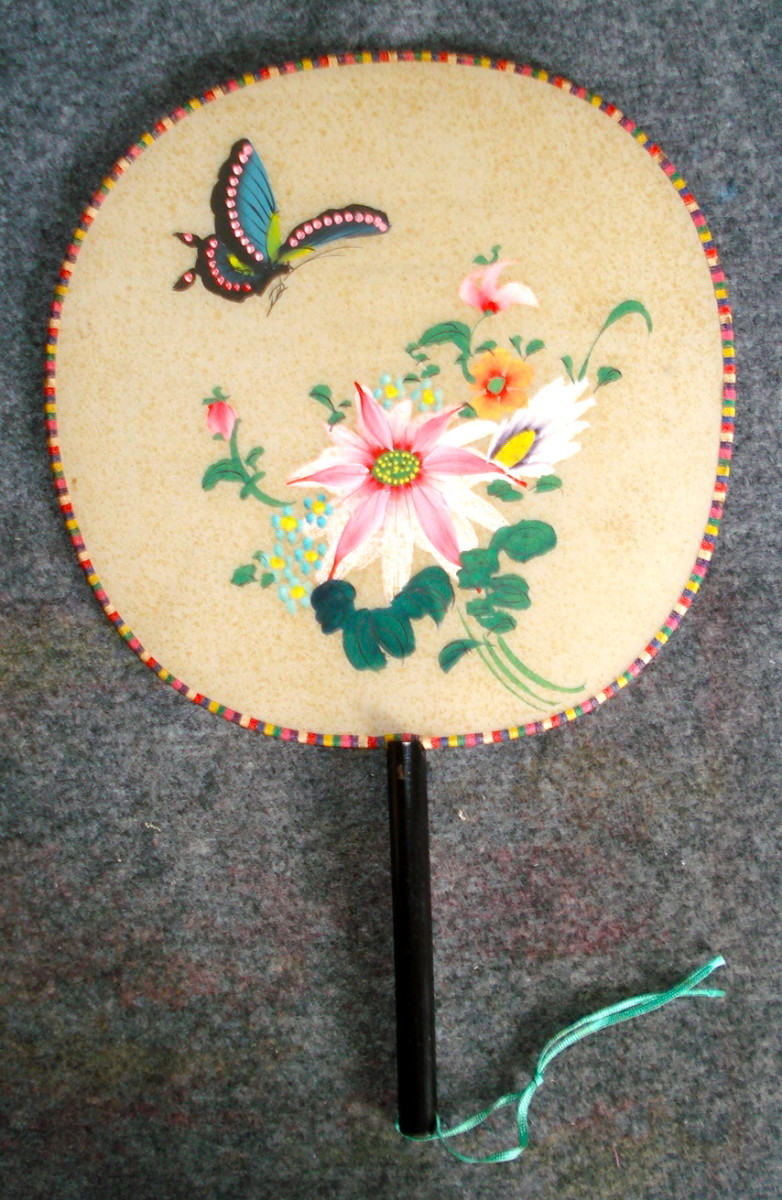 Paddle Fan - Painted on Silk with Bamboo Frame