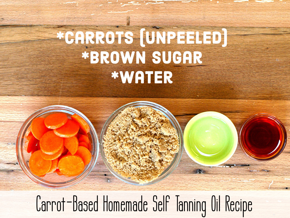 Recipe for carrot-based homemade sunless tanning oil.