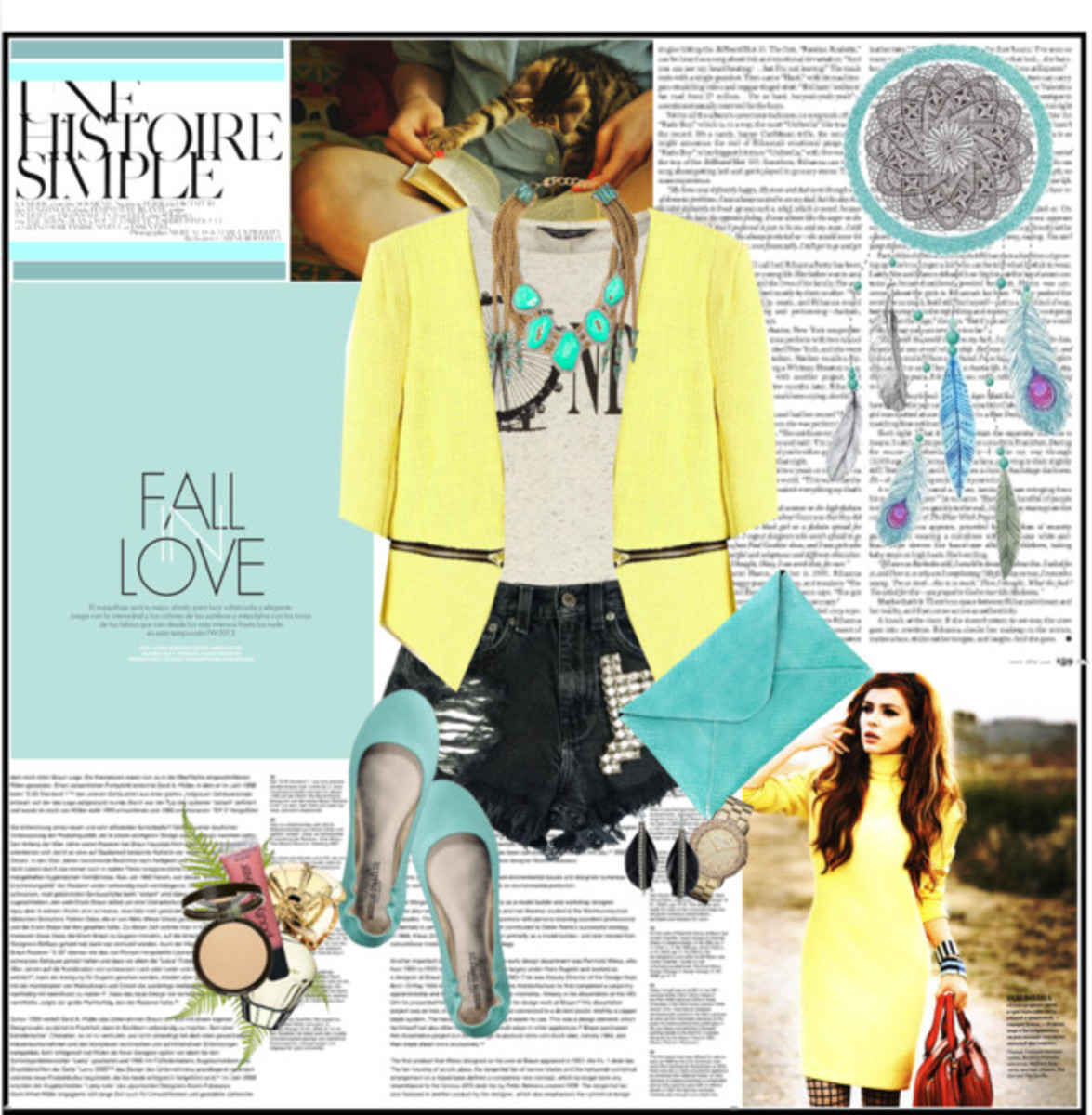 I love this yellow and turquoise combination!