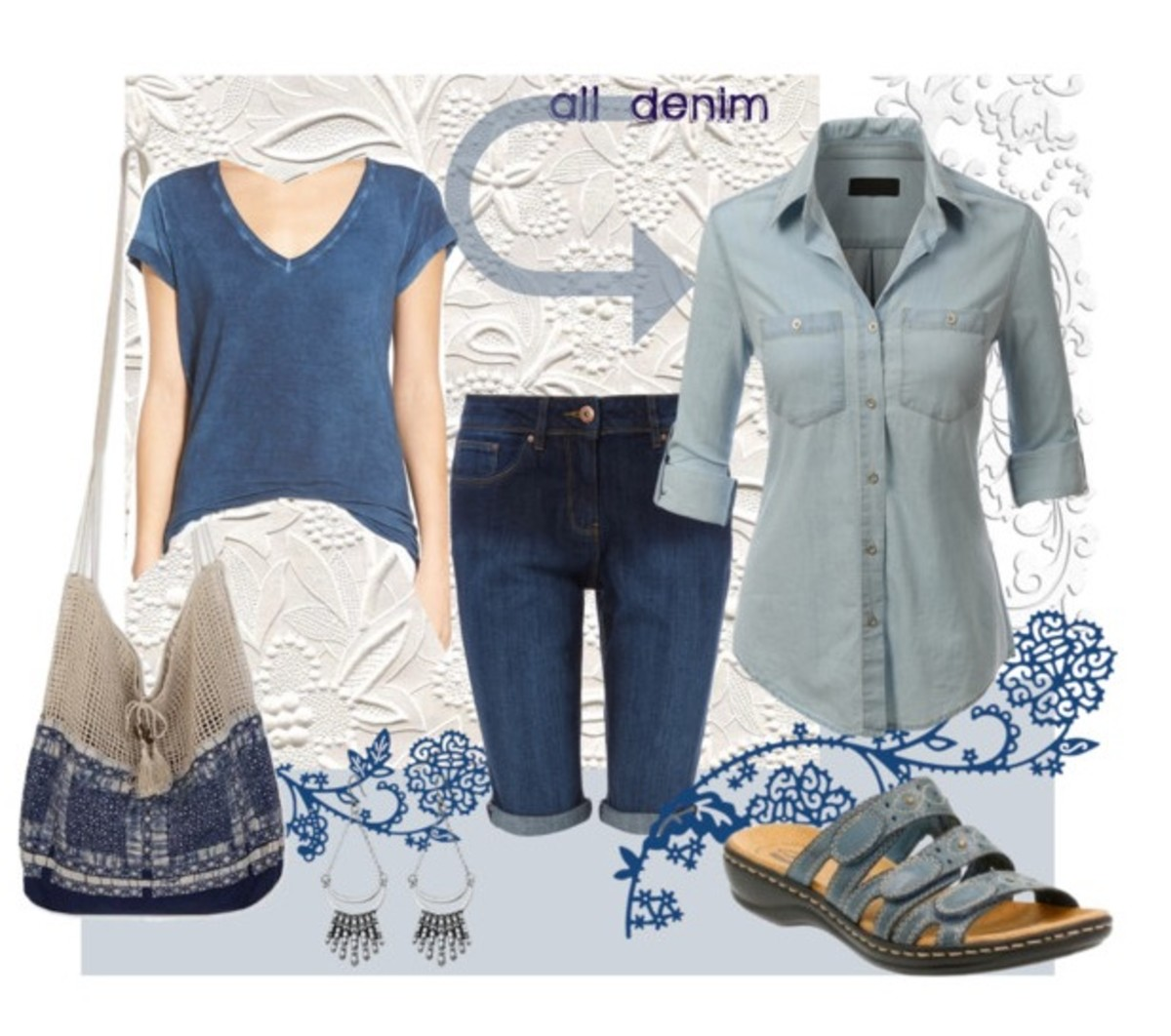 Collection featuring an all-denim look