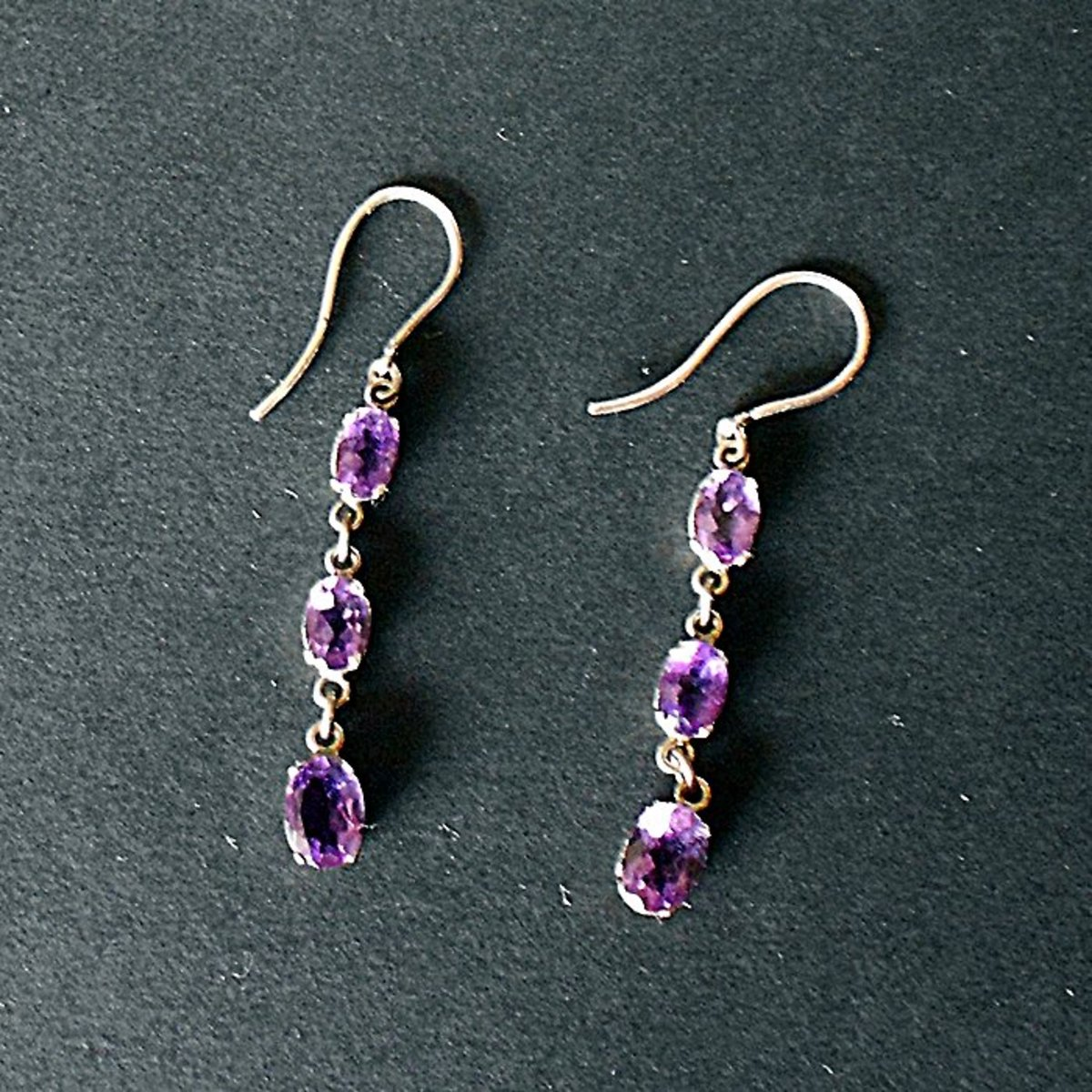 After cleaning, my vintage silver and amethyst earrings all nice and sparkly again
